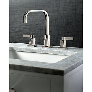 Kingston Brass NuvoFusion Widespread Bathroom Faucet with Plastic Pop-Up, Polished Nickel, large