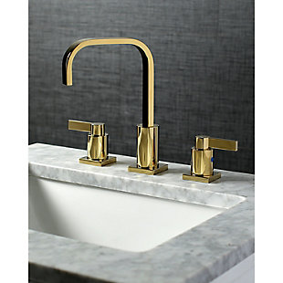 Kingston Brass NuvoFusion Widespread Bathroom Faucet with Plastic Pop-Up, Polished Brass, rollover