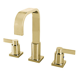 Kingston Brass NuvoFusion Widespread Bathroom Faucet with Plastic Pop-Up, Polished Brass, large