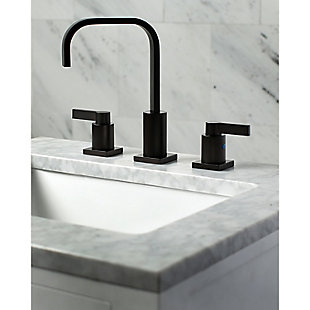 Kingston Brass NuvoFusion Widespread Bathroom Faucet with Plastic Pop-Up, Oil Rubbed Bronze, large
