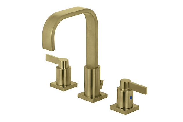Kingston Brass NuvoFusion Widespread Bathroom Faucet with Plastic Pop-Up, Brushed Brass, large