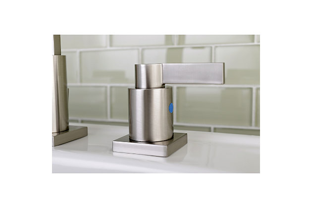 Kingston Brass NuvoFusion Widespread Bathroom Faucet with Plastic Pop-Up, Brushed Nickel, large