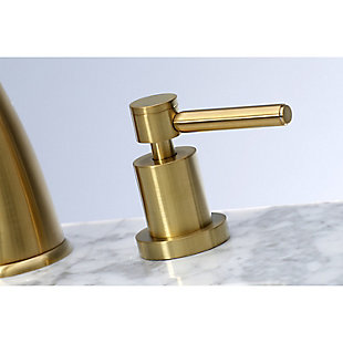 Kingston Brass Concord Widespread Bathroom Faucet with Brass Pop-Up, Brushed Brass, large