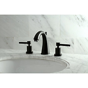 Kingston Brass Concord Widespread Bathroom Faucet with Brass Pop-Up, Matte Black, large