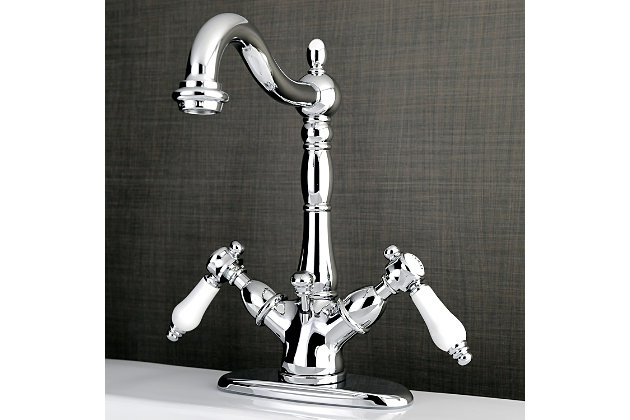 Kingston Brass Bel-Air Two-Handle Bathroom Faucet with Brass Pop-Up, Polished Chrome, large