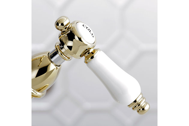 Kingston Brass Bel-Air Two-Handle Bathroom Faucet with Brass Pop-Up, Polished Brass, large