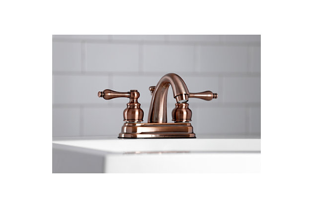 "Kingston Brass Restoration 4"" Centerset Bathroom Faucet with Plastic Pop-Up, Antique Copper, large"
