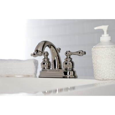 "Kingston Brass Restoration 4"" Centerset Bathroom Faucet with Plastic Pop-Up, Polished Nickel, large"