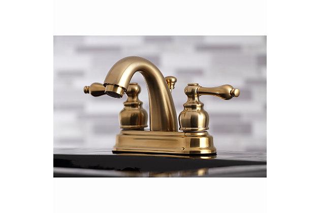 "Kingston Brass Restoration 4"" Centerset Bathroom Faucet with Plastic Pop-Up, Brushed Brass, large"