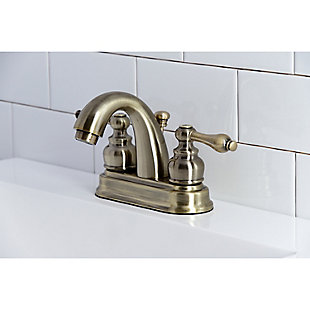 "Kingston Brass Restoration 4"" Centerset Bathroom Faucet with Plastic Pop-Up, Antique Brass, rollover"