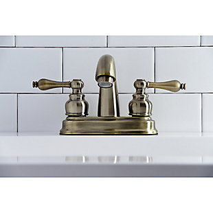 "Kingston Brass Restoration 4"" Centerset Bathroom Faucet with Plastic Pop-Up, Antique Brass, large"