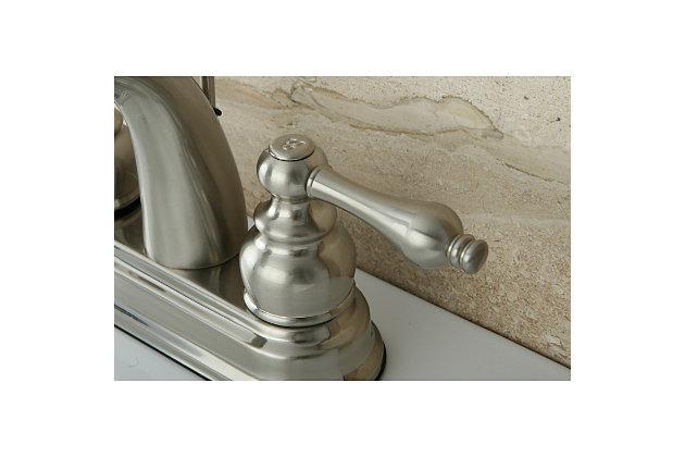 "Kingston Brass Restoration 4"" Centerset Bathroom Faucet with Plastic Pop-Up, Brushed Nickel, large"