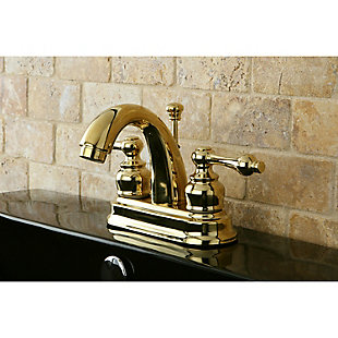 "Kingston Brass Restoration 4"" Centerset Bathroom Faucet with Plastic Pop-Up, Polished Brass, large"
