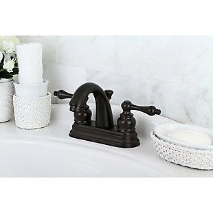 "Kingston Brass Restoration 4"" Centerset Bathroom Faucet with Plastic Pop-Up, Oil Rubbed Bronze, large"