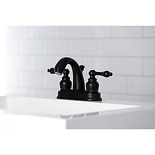 "Kingston Brass Restoration 4"" Centerset Bathroom Faucet with Plastic Pop-Up, Matte Black, large"