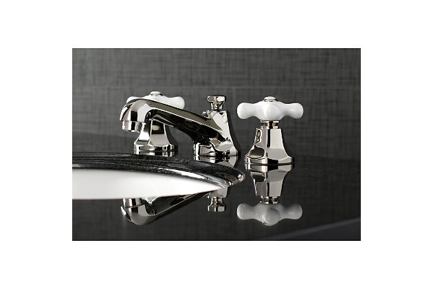 Kingston Brass Metropolitan Widespread Bathroom Faucet with Brass Pop-Up, Polished Nickel, large
