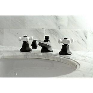 Kingston Brass Metropolitan Widespread Bathroom Faucet with Brass Pop-Up, Matte Black, large