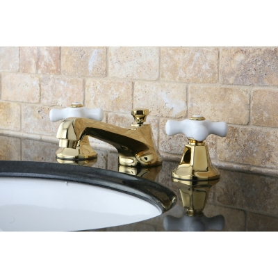 Kingston Brass Metropolitan Widespread Bathroom Faucet with Brass Pop-Up, Polished Brass, large