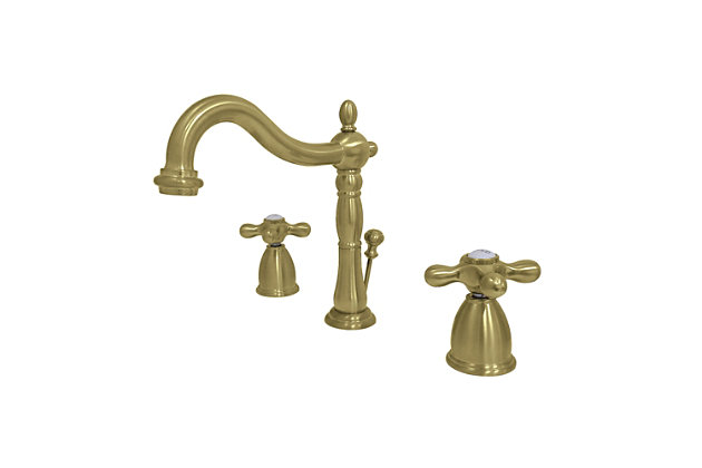 Kingston Brass Heritage Widespread Bathroom Faucet with Brass Pop-Up, Brushed Brass, large