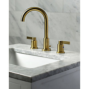 Kingston Brass NuvoFusion Widespread Bathroom Faucet with Brass Pop-Up, Brushed Brass, large