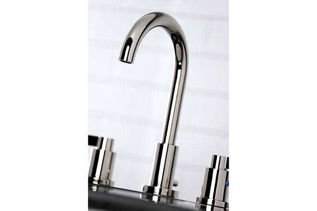 Kingston Brass NuvoFusion Widespread Bathroom Faucet with Brass Pop-Up, Polished Nickel, large