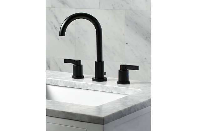Kingston Brass NuvoFusion Widespread Bathroom Faucet with Brass Pop-Up, Matte Black, large