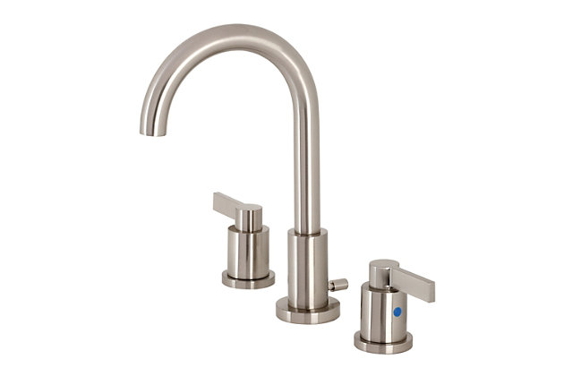 Kingston Brass NuvoFusion Widespread Bathroom Faucet with Brass Pop-Up, Brushed Nickel, large