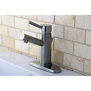 Kingston Brass Concord Single-Handle Bathroom Faucet with Brass Pop-Up, Brushed Nickel, rollover