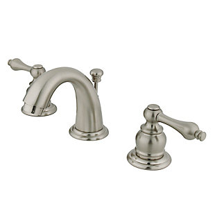 Kingston Brass English Country Widespread Bathroom Faucet with Drain, Brushed Nickel, large
