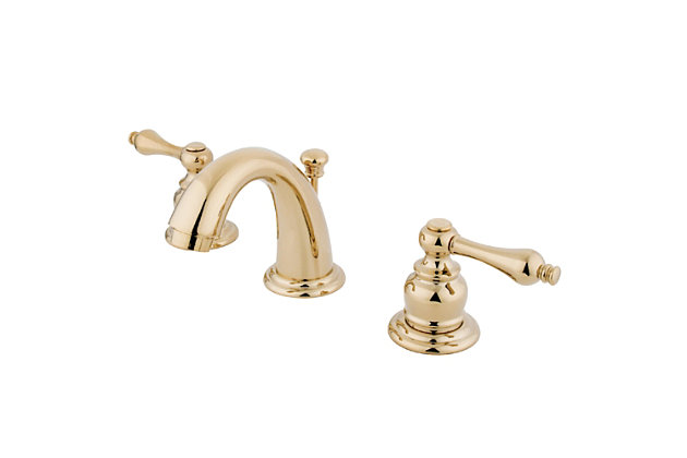 Kingston Brass English Country Widespread Bathroom Faucet with Drain, Polished Brass, large