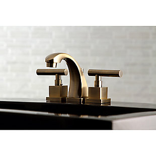 Kingston Brass Claremont Widespread Bathroom Faucet with Brass Pop-Up, Antique Brass, rollover