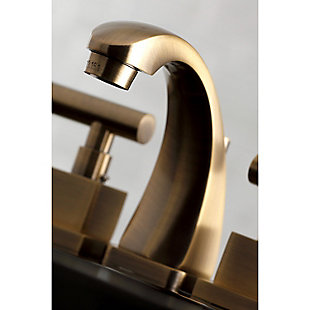 Kingston Brass Claremont Widespread Bathroom Faucet with Brass Pop-Up, Antique Brass, large