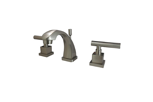 Kingston Brass Claremont Widespread Bathroom Faucet with Brass Pop-Up, Brushed Nickel, large