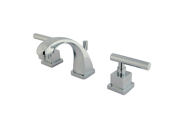 Kingston Brass Claremont Widespread Bathroom Faucet with Brass Pop-Up, Polished Chrome, large