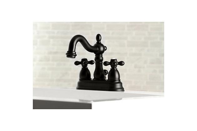 "Kingston Brass Heritage 4"" Centerset Bathroom Faucet with Plastic Pop-Up, Matte Black, large"