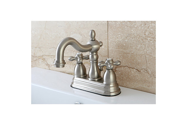 "Kingston Brass Heritage 4"" Centerset Bathroom Faucet with Plastic Pop-Up, Brushed Nickel, large"