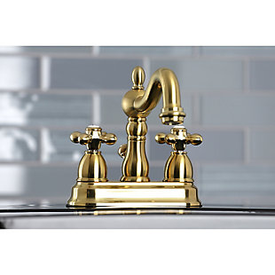 """Kingston Brass Heritage 4"""" Centerset Bathroom Faucet with Plastic Pop-Up, Polished Gold, large"""
