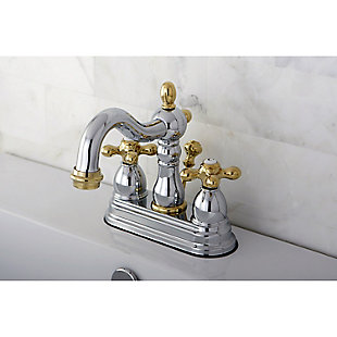 "Kingston Brass Heritage 4"" Centerset Bathroom Faucet with Plastic Pop-Up, Polished Chrome/Brass, rollover"