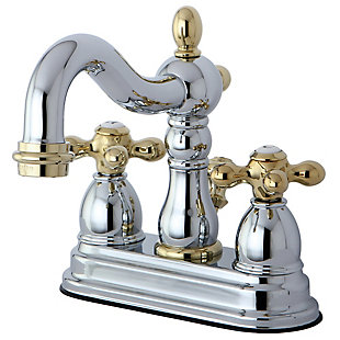 "Kingston Brass Heritage 4"" Centerset Bathroom Faucet with Plastic Pop-Up, Polished Chrome/Brass, large"