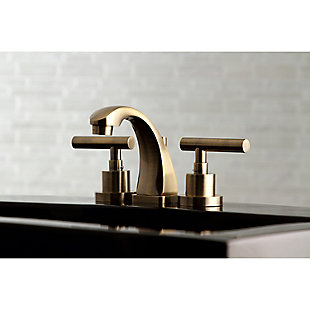 Kingston Brass Manhattan Widespread Bathroom Faucet with Brass Pop-Up, Brushed Brass, rollover
