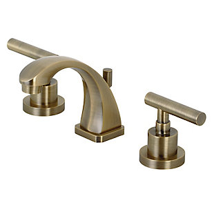 Kingston Brass Manhattan Widespread Bathroom Faucet with Brass Pop-Up, Brushed Brass, large