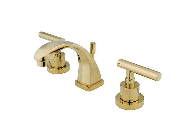 Kingston Brass Manhattan Widespread Bathroom Faucet with Brass Pop-Up, Polished Brass, large