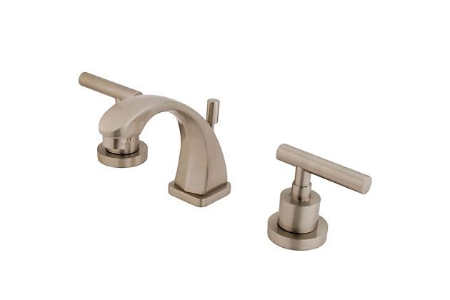 Kingston Brass Manhattan Widespread Bathroom Faucet with Brass Pop-Up, Brushed Nickel, large