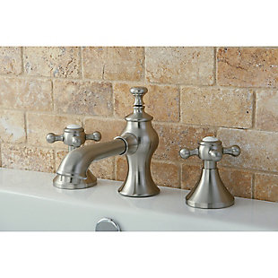 Kingston Brass English Country Widespread Bathroom Faucet with Brass Pop-Up, Polished Nickel, large
