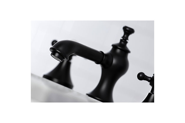 Kingston Brass English Country Widespread Bathroom Faucet with Brass Pop-Up, Matte Black, large