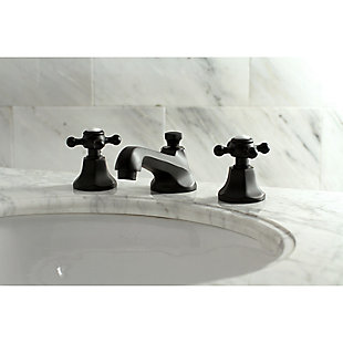Kingston Brass Metropolitan Widespread Bathroom Faucet with Brass Pop-Up, Matte Black, rollover