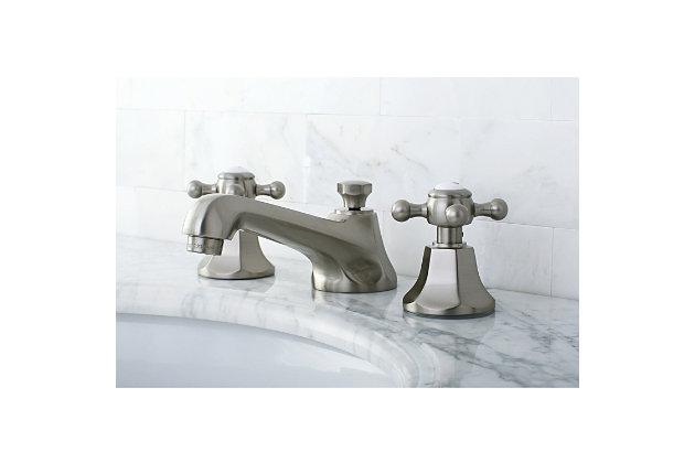 Kingston Brass Metropolitan Widespread Bathroom Faucet with Brass Pop-Up, Brushed Nickel, large