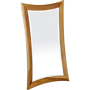 EcoDecors Curvature Teak Wood Wall Mirror, , rollover