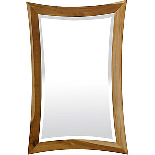 EcoDecors Curvature Teak Wood Wall Mirror, , large