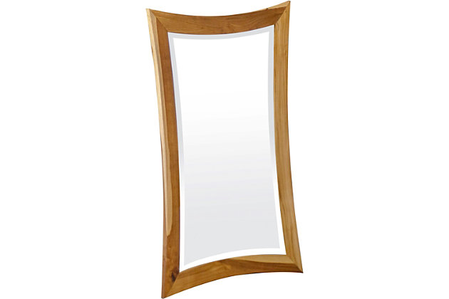 EcoDecors Curvature Teak Wood Wall Mirror, , large
